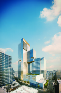 San Diego's high-rise 7th and Market is a vertical city program that includes a hotel, retail spaces, offices, and affordable and market-rate residences.